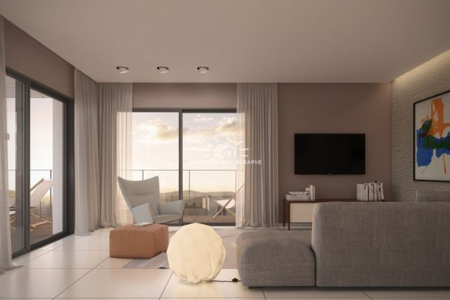 Living room of new modern 3 bedroom apartments with garage in the center of Tavira