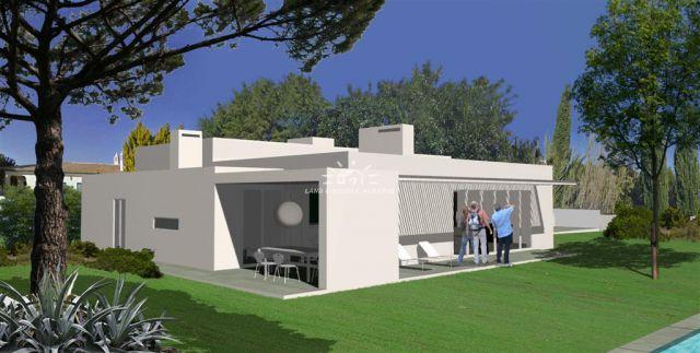 Grundstück mit Projekt für moderne Villa mit Pool nahe Sao Bras de Alportel