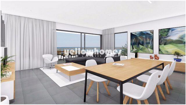 Wohnzimmer von Penthouse-Wohnung mit Pool und Meerblick direct an der Lagune gelegen